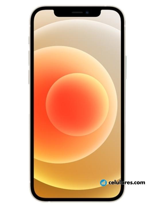 Fotografía grande Varias vistas del Apple iPhone 12 Azul y Branco y Preto y Vermelho y Verde. En la pantalla se muestra Varias vistas