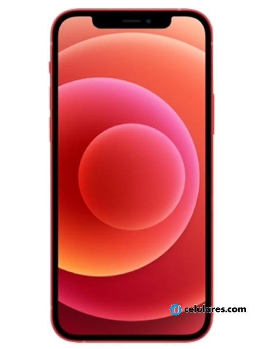 Fotografía grande Varias vistas del Apple iPhone 12 mini Azul y Branco y Preto y Vermelho y Verde. En la pantalla se muestra Varias vistas