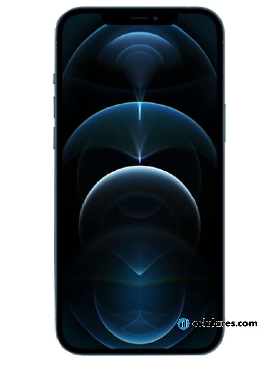 Fotografía grande Varias vistas del Apple iPhone 12 Pro Max Prata y Azul y Dourado y Grafite. En la pantalla se muestra Varias vistas