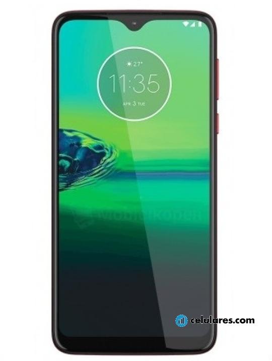 Fotografía grande Varias vistas del Motorola Moto G8 Play Magenta y Preto. En la pantalla se muestra Varias vistas