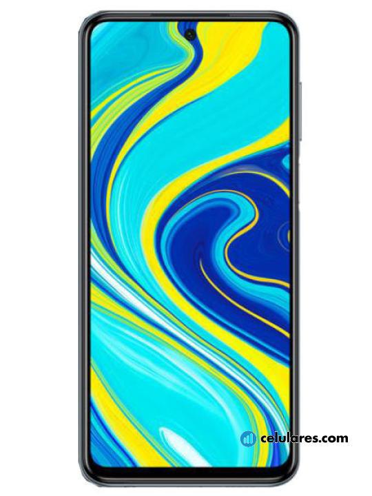 Fotografía grande Varias vistas del Xiaomi Redmi Note 9S Azul y Branco y Cinza. En la pantalla se muestra Varias vistas